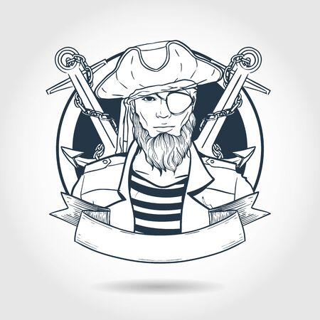 Hand drawn sketch, pirate face with beard and anchor. Poster, flyer design