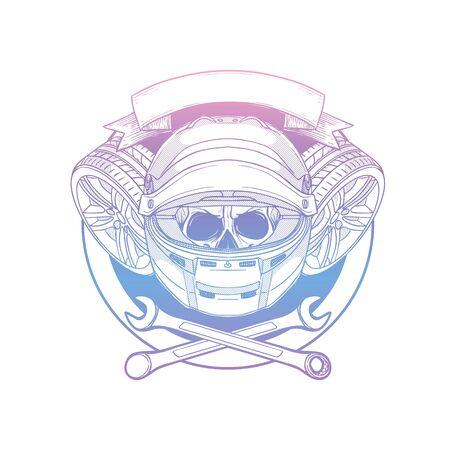 Hand drawn sketch racer skull Banque d'images - 133244230