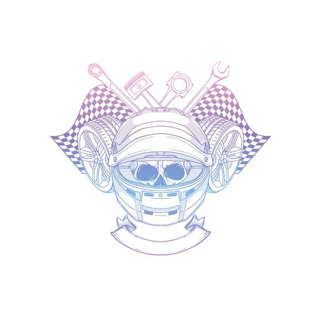 Hand drawn sketch racer skull Banque d'images - 133244228
