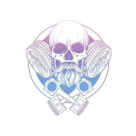 Hand drawn sketch racer skull Stock Vector - 133244226
