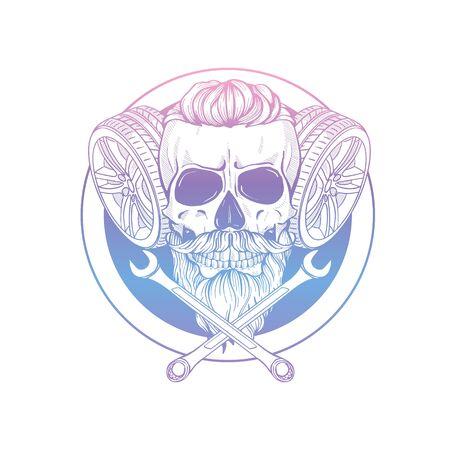 Hand drawn sketch racer skull Banque d'images - 133210721