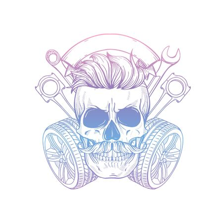 Hand drawn sketch racer skull