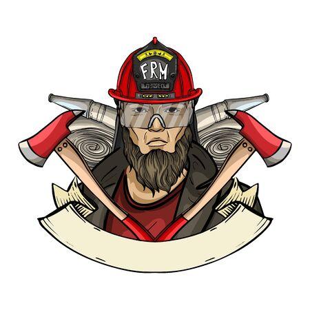 Hand drawn sketch fireman icon Ilustração