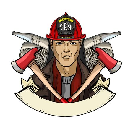 Hand drawn sketch fireman icon Banque d'images - 133437393