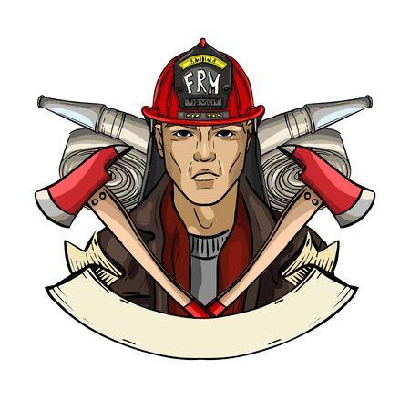 Hand drawn sketch fireman icon 일러스트