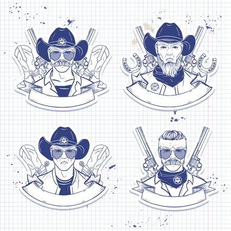 Hand drawn sketch cowboy set Archivio Fotografico - 133437566