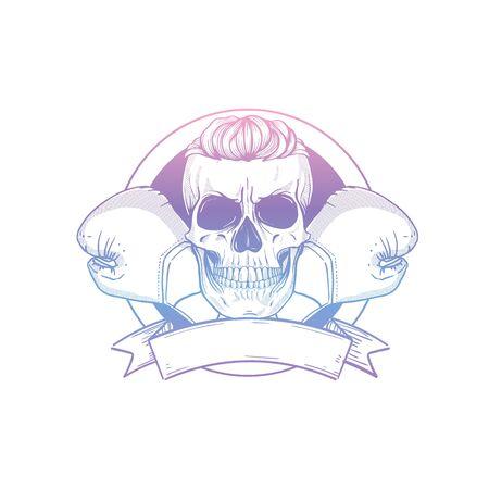 Hand drawn skull boxing gloves