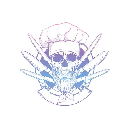 Hand drawn sketch, skull with cooks knife set, cooks hat and beard