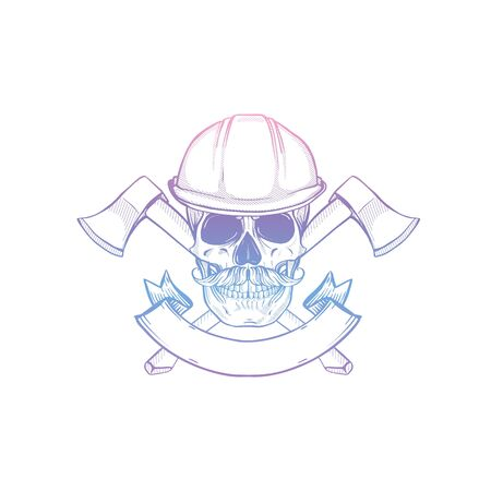 Hand drawn sketch, skull with helmet, axes and mustaches