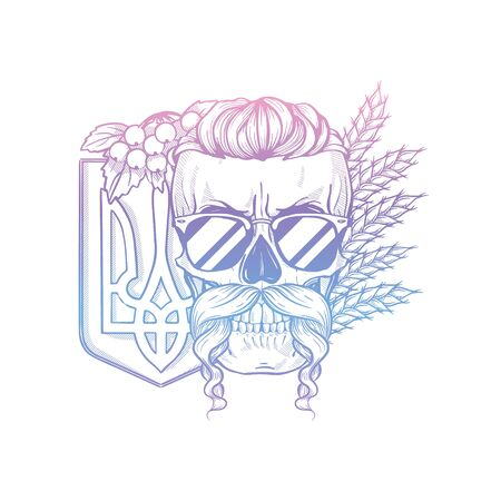 Hand drawn sketch, skull with Ukrainian emblem, mustaches, branches of viburnum, spikes of wheat, sunglasses