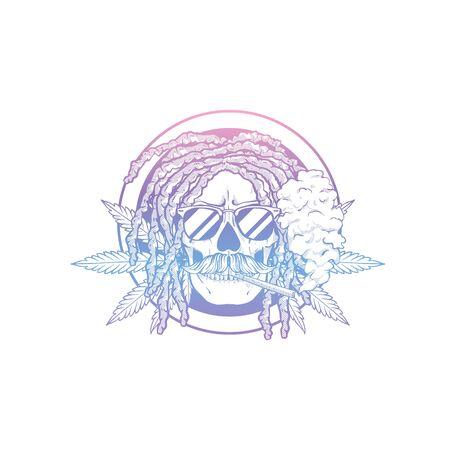 Sketch, skull with dreadlocks, cigarette, mustaches hemp leaf and sunglasses