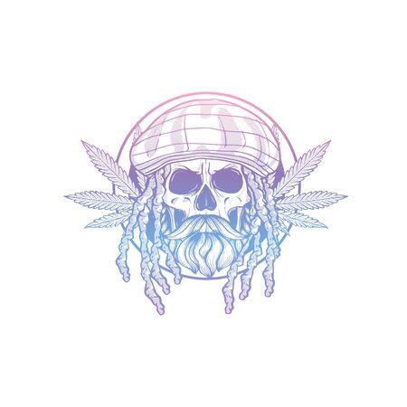 Sketch, skull with dreadlocks, rastaman hat, beard and mustaches and hemp leaf Ilustracja