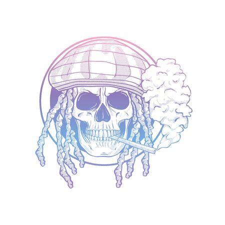 Sketch, skull with dreadlocks, rastaman hat, cigarette and smoke Ilustracja