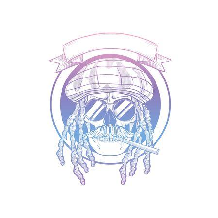 Sketch, skull with dreadlocks, rastaman hat, cigarette, mustaches and round sunglasses