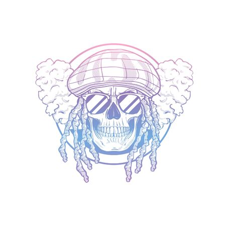 Sketch, skull with dreadlocks, rastaman hat, smoke and sunglasses