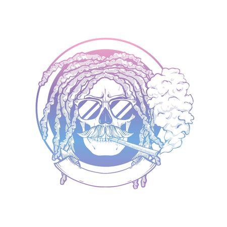 Sketch, skull with dreadlocks, round sunglasses, cigarette and mustaches