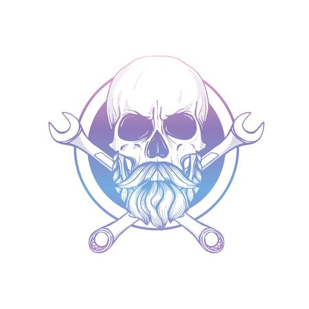 Hand drawn sketch, skull with wrench