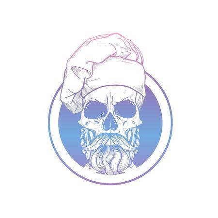Sketch color skull with cooks hat Illusztráció