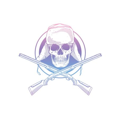 Sketch, skull with hat with ear flaps, rifles