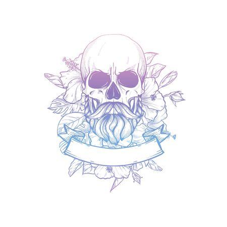 Crâne avec moustaches et barbe avec fleurs et ruban, dessin au trait Vecteurs