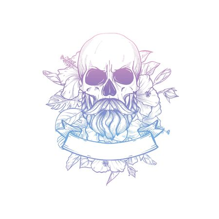 Skull with moustaches and beard with flowers and ribbon, line art