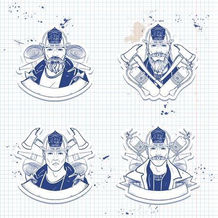 Set of sketch fireman stickers