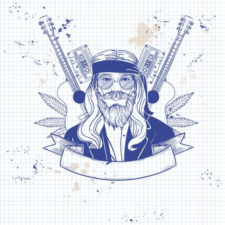 Hand drawn sketch hippie man