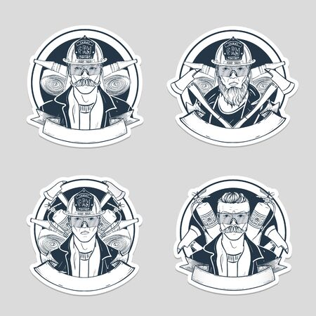 Set of sketch fireman stickers Banque d'images - 135348433