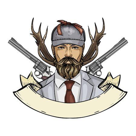 Hand drawn color sketch hunter man