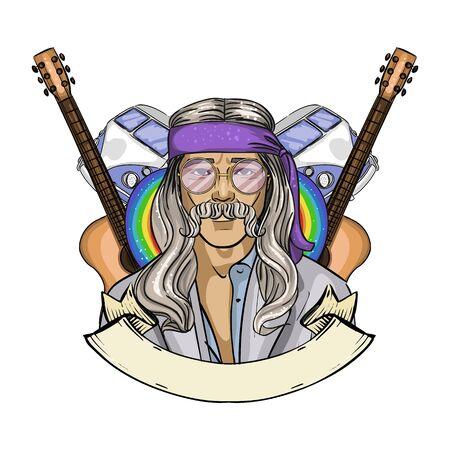 Hand drawn sketch hippie man