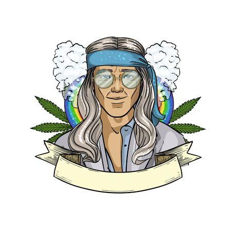 Hand drawn sketch hippie man Vecteurs