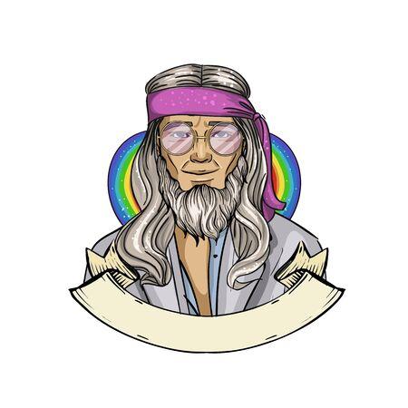 Homme hippie croquis dessinés à la main
