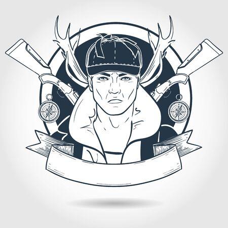 Hand drawn sketch hunter man