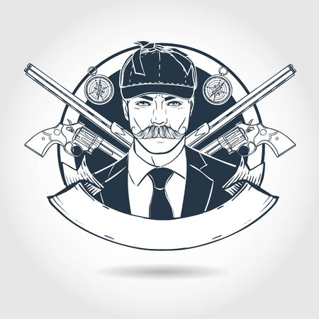 Hand drawn sketch, hunter man with mustaches and hat. Poster, flyer design