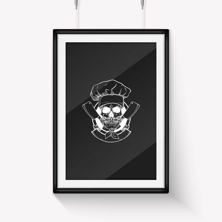 Hand drawn sketch skull with cooks hat