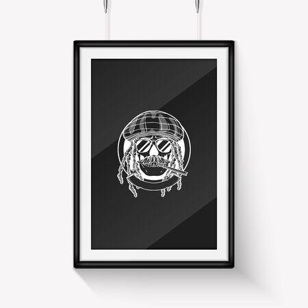 Rastafarian vector skull with dreadlocks.  イラスト・ベクター素材