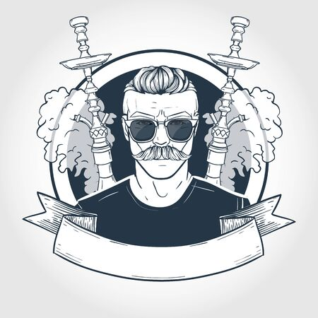 Hand drawn sketch hipster with hookah, mustaches, glasses and clouds of smoke. Poster, flyer design