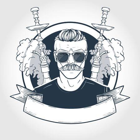 Hipster de croquis dessinés à la main avec narguilé, moustaches, lunettes et nuages de fumée. Affiche, conception de flyer