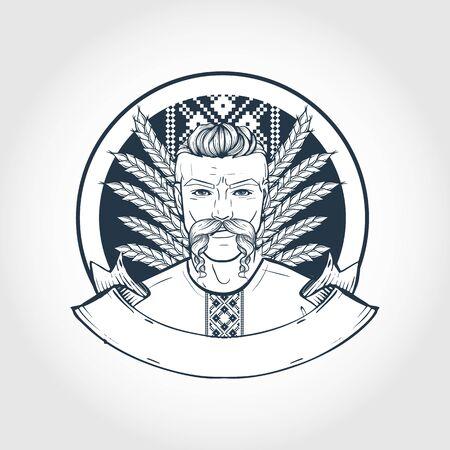 Hand drawn sketch, ukrainian kozak with long mustaches. Poster, flyer design Illustration