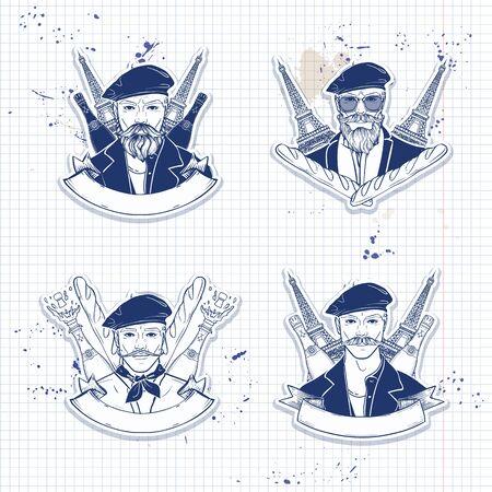 Croquis de couleur dessiné à la main, ensemble d'autocollants pour hommes français, affiches sur une page de cahier