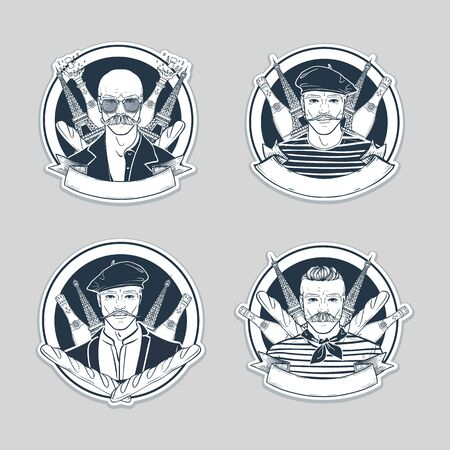 Hand drawn sketch, set of french men stickers, flyers Illustration