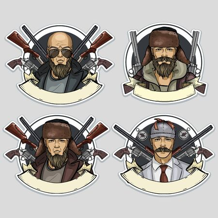Hand drawn color sketch, set of hunter men stickers, posters