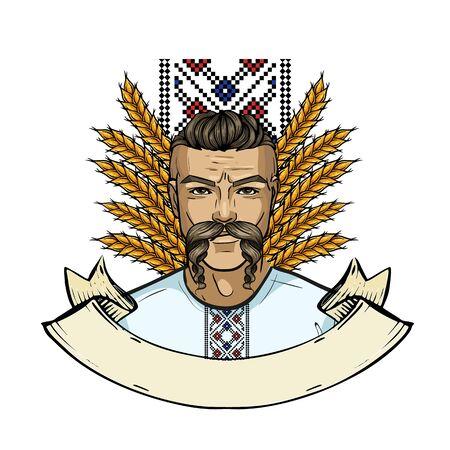 Hand drawn color sketch, ukrainian kozak with long mustaches. Poster, flyer design