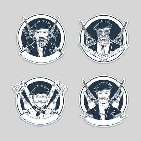 Hand drawn sketch, set of french men stickers, posters