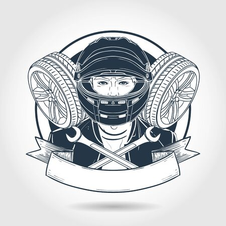 Hand drawn sketch, racer man with helmet and race car tire. Poster, flyer design