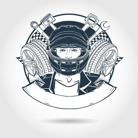 Hand drawn sketch, racer man with helmet and wrench. Poster, flyer design Stockfoto - 139561056