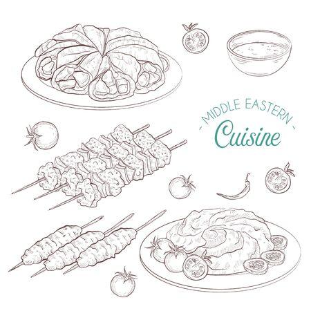 Middle Eastern cuisine, arabian dishes.