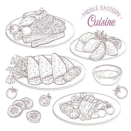 Middle Eastern cuisine, arabian dishes. Stok Fotoğraf - 140837491