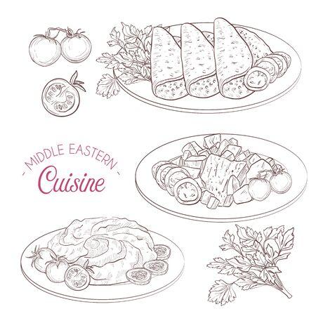 Middle Eastern cuisine, arabian dishes. Lahooh Hummus Maqliba Stok Fotoğraf - 140837492