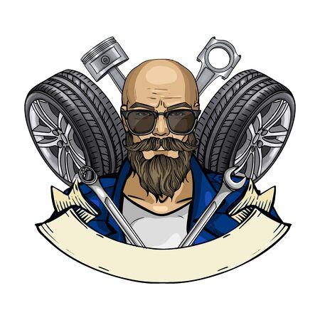 Hand drawn color sketch, racer man with sunglasses and race car tire. Poster, flyer design Vektoros illusztráció
